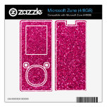 Neon hot pink glitter decals for the zune
