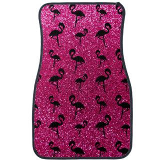 Neon hot pink glitter flamingos car mat