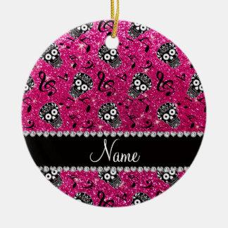 Neon hot pink glitter music notes sugar skulls ceramic ornament