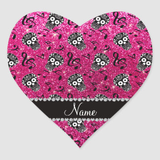 Neon hot pink glitter music notes sugar skulls heart sticker
