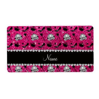Neon hot pink glitter princess crown wand stars label
