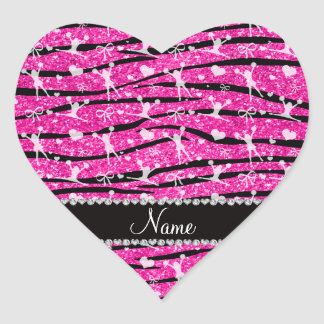 Neon hot pink glitter zebra stripes cheerleading heart sticker