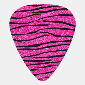 Neon hot pink glitter zebra stripes guitar pick