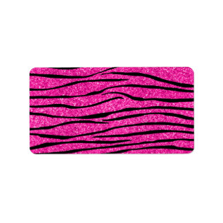 Neon hot pink glitter zebra stripes label