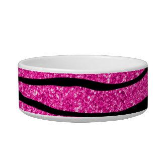 Neon hot pink glitter zebra stripes cat water bowl