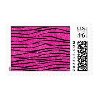 Neon hot pink glitter zebra stripes stamps