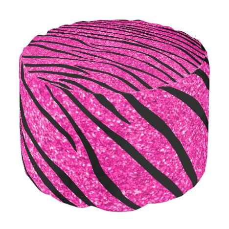 Neon hot pink glitter zebra stripes pouf