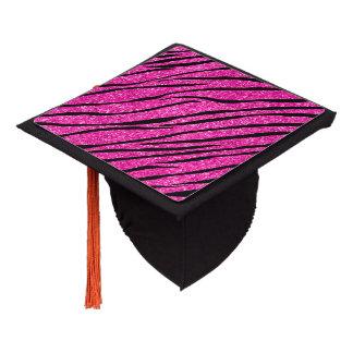 Neon hot pink glitter zebra stripes graduation cap topper