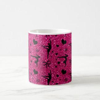 Neon hot pink gymnastics glitter pattern classic white coffee mug