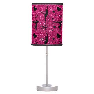 Neon hot pink gymnastics glitter pattern desk lamp