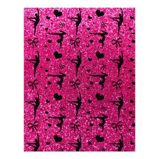 Neon hot pink gymnastics glitter pattern custom flyer