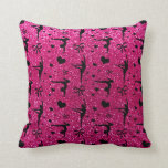 Neon hot pink gymnastics glitter pattern throw pillow
