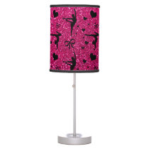 Neon hot pink gymnastics glitter pattern table lamp
