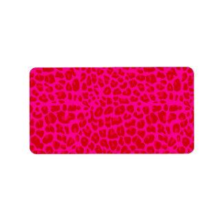 Neon hot pink leopard print pattern address label