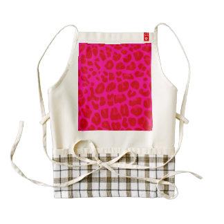Neon hot pink leopard print pattern zazzle HEART apron