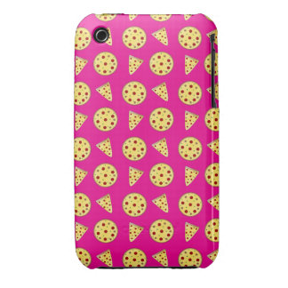 Neon hot pink pizza pattern Case-Mate iPhone 3 cases