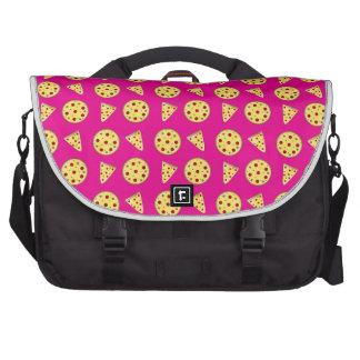 Neon hot pink pizza pattern commuter bag