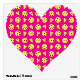 Neon hot pink pizza pattern wall decals