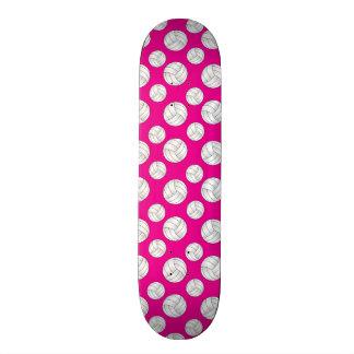 Neon hot pink volleyballs pattern skate boards