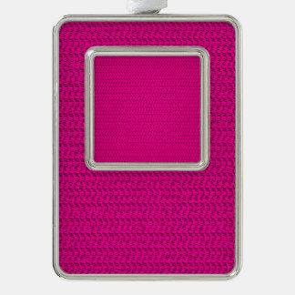 Neon Hot Pink Weave Mesh Look Christmas Ornament