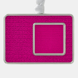 Neon Hot Pink Weave Mesh Look Silver Plated Framed Ornament