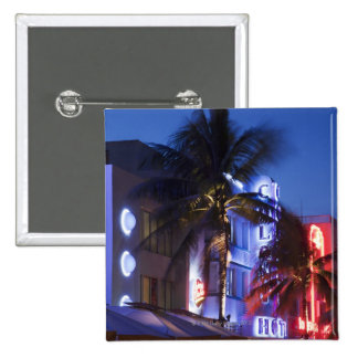 Neon hotel at night, Ocean Drive, South Miami Beac Buttons