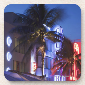 Neon hotel at night, Ocean Drive, South Miami Beac Coaster