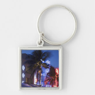 Neon hotel at night, Ocean Drive, South Miami Beac Keychain