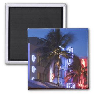 Neon hotel at night, Ocean Drive, South Miami Beac Fridge Magnets