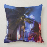 Neon hotel at night, Ocean Drive, South Miami Beac Pillow