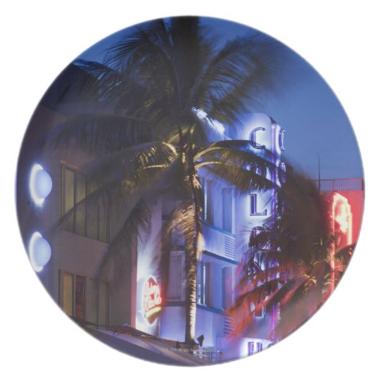 Neon hotel at night, Ocean Drive, South Miami Beac Plate