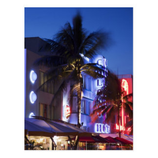 Neon hotel at night, Ocean Drive, South Miami Beac Postcard