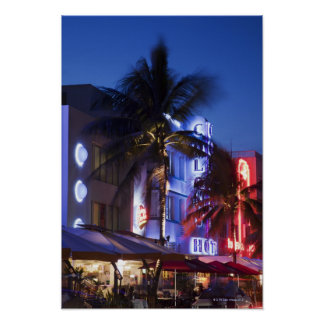 Neon hotel at night, Ocean Drive, South Miami Beac Poster