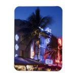 Neon hotel at night, Ocean Drive, South Miami Beac Rectangular Photo Magnet