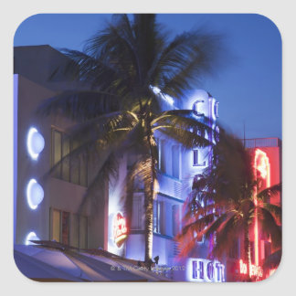 Neon hotel at night, Ocean Drive, South Miami Beac Square Sticker