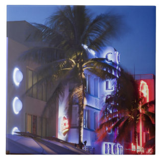 Neon hotel at night, Ocean Drive, South Miami Beac Tile