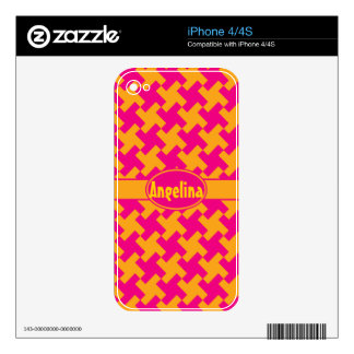 Neon Houndstooth Skin For The iPhone 4S