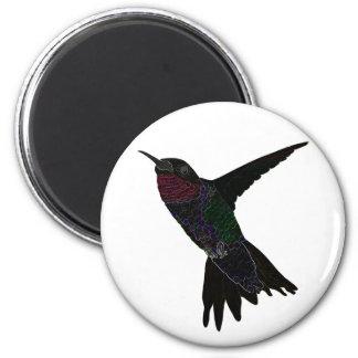 Neon Hummingbird 2 Inch Round Magnet