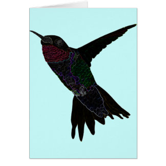 Neon Hummingbird Card