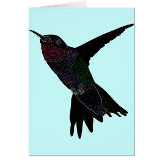 Neon Hummingbird Greeting Card
