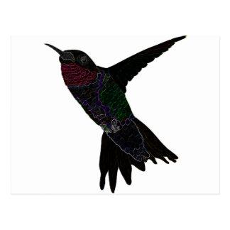 Neon Hummingbird Postcard