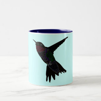 Neon Hummingbird Two-Tone Coffee Mug