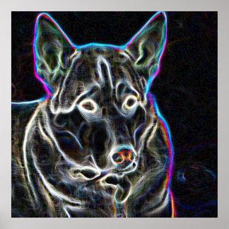 Neon Husky Print