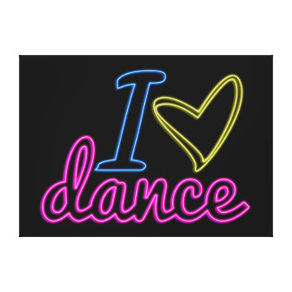 Neon I Love Dance Canvas Canvas Print