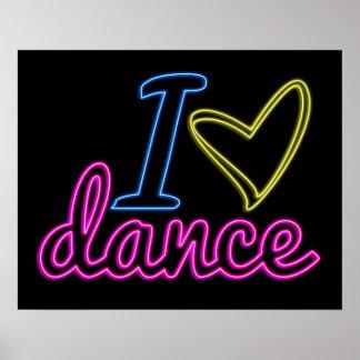 Neon I Love Dance Poster