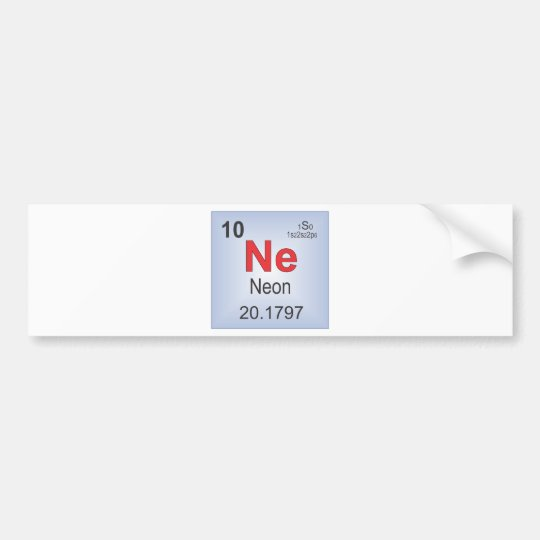 Neon Individual Element of the Periodic Table Bumper Sticker