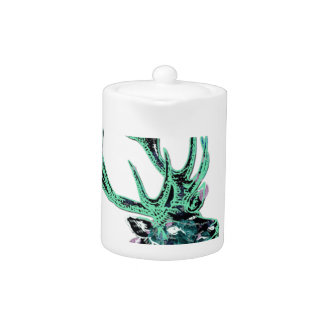 Neon Inverted Green and Purple Floral Stag Head Teapot