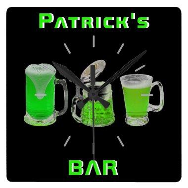 Neon Irish Pub Bar Sign Clock Personalized Mancave