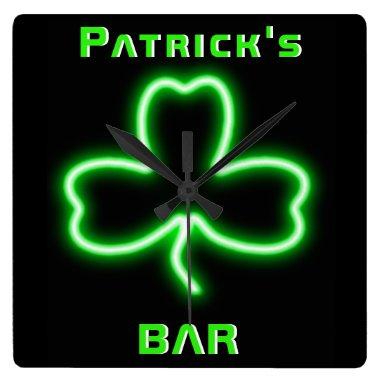 Neon Irish Pub Bar Sign Clock Shamrock Beer Named