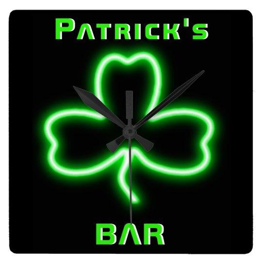 Neon Irish Pub Bar Sign Clock Shamrock Beer Named   Zazzle.com